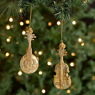 Golden Strings Ornaments, Set of 2