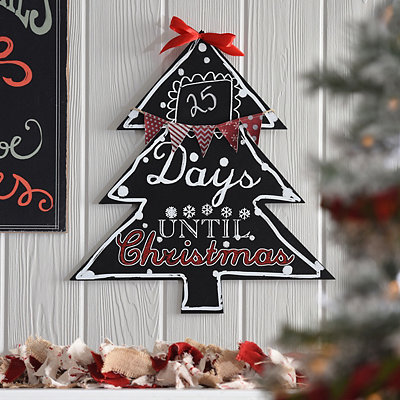 Chalkboard Christmas Countdown Tree Plaque