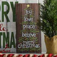 Merry Christmas Tree Pallet Plaque