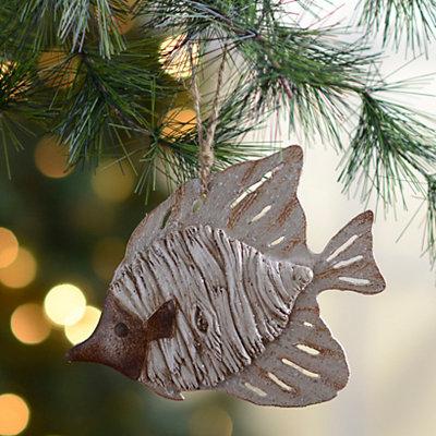 Distressed White Fish Ornament