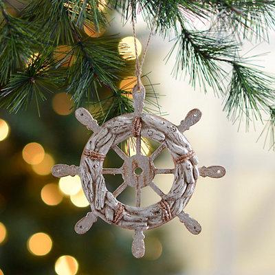 Distressed White Wheel Ornament