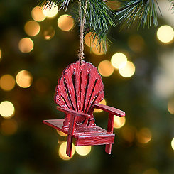 Distressed Red Beach Chair Ornament