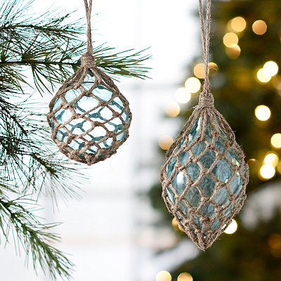 Rope Wrapped Blue Glass Ornaments, Set of 2