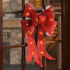 Pre-Lit Red Tinsel Door Bow