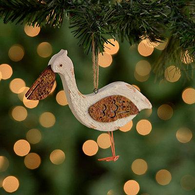 Distressed White Pelican Ornament