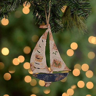 Distressed Sailboat Ornament