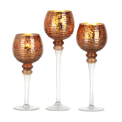 Russet Mercury Glass Charismas, Set of 3