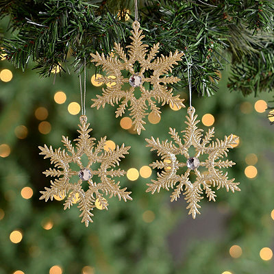Gold Jeweled Snowflake Ornaments, Set of 3