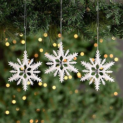 White Jeweled Snowflake Ornaments, Set of 3