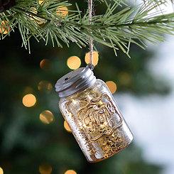 LED Silver Hope Mason Jar Ornament