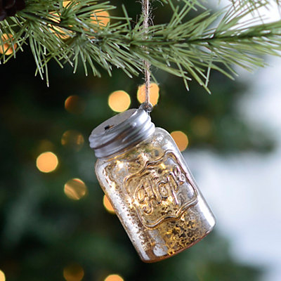 LED Silver Hope Mason Jar Ornament