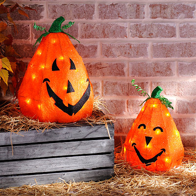 Pre-Lit Sisal Jack O' Lanterns, Set of 2