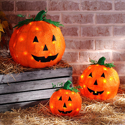 Pre-Lit Sisal Jack O' Lanterns, Set of 3
