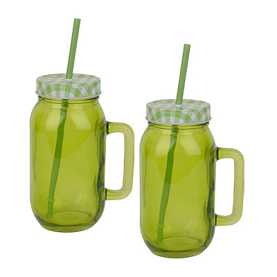 Lime Green Mason Jar Mugs, Set of 2