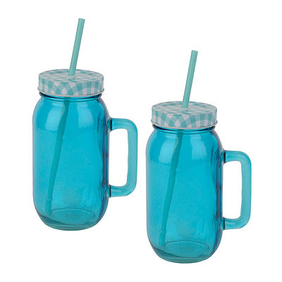 Turquoise Mason Jar Mugs, Set of 2