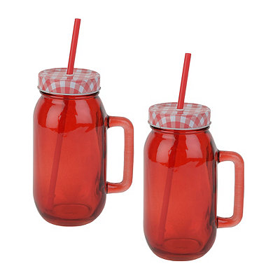 Red Mason Jar Mugs, Set of 2