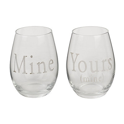Mine and Yours Stemless Wine Glasses, Set of 2