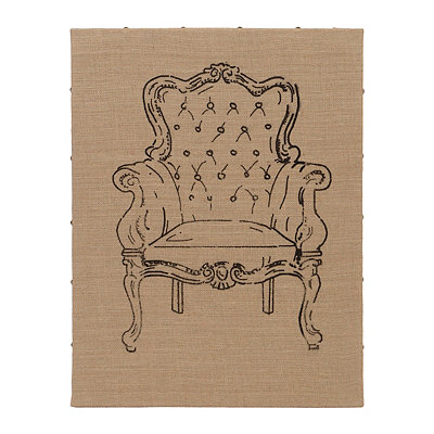 Flea Market Chair IV Burlap Art Print