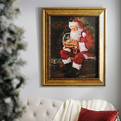 Glittered Santa & Snow Globe Framed Art Print