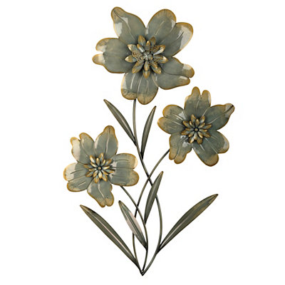 Cottage Blue Floral I Metal Plaque