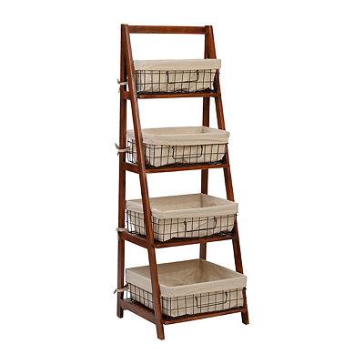 Brown Storage Basket Wooden Ladder Shelf
