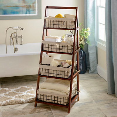 Brown Storage Basket Wooden Ladder Shelf