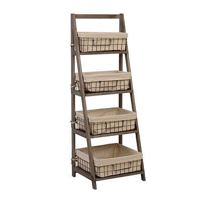 Gray Storage Basket Wooden Ladder Shelf