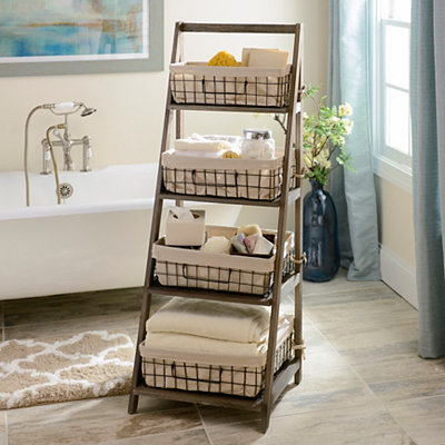 Gray Storage Basket Wooden Ladder Shelf