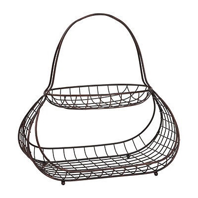 Antique Black Baboosh 2-Tier Basket