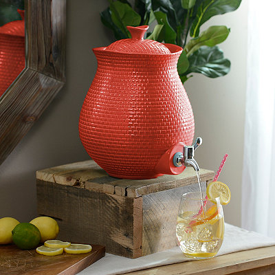 Red Embossed Ceramic Beverage Dispenser