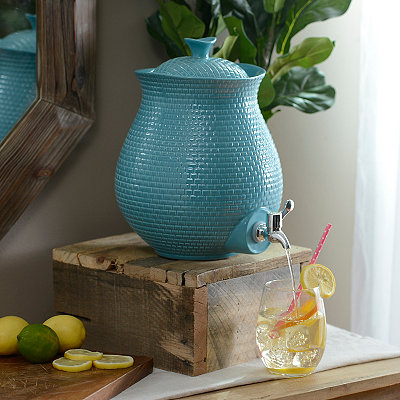 Turquoise Embossed Ceramic Beverage Dispenser