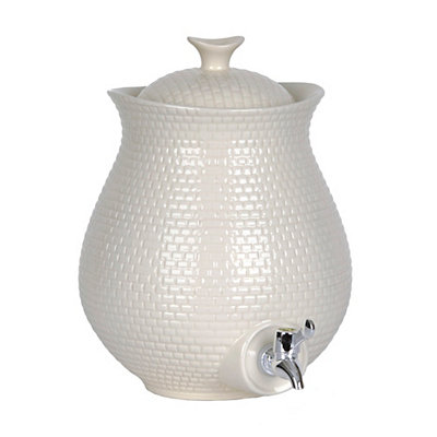 White Embossed Ceramic Beverage Dispenser
