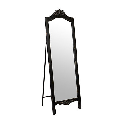 Ornate Distressed Black Cheval Mirror