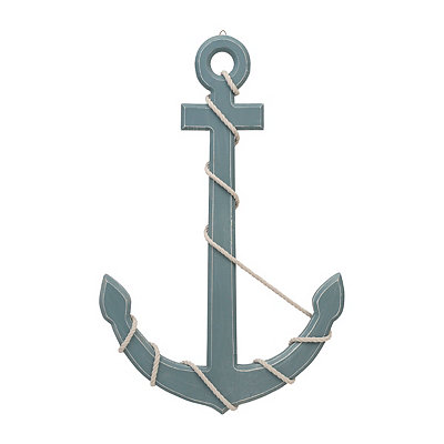 Aqua Wrapped Rope Anchor Metal Plaque