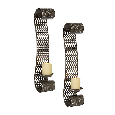 Pewter Scroll Sconces, Set of 2