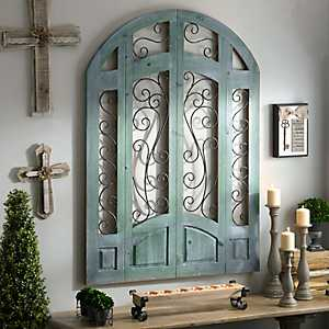 Distressed Turquoise Grand Entrance Wooden Plaque
