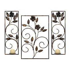 Bronze Floral Metal Sconces, Set of 3