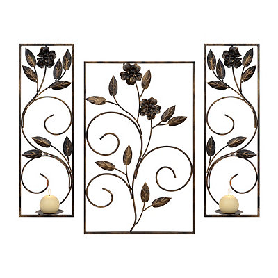 bronze floral metal sconces set of 3