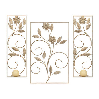 White Floral Metal Sconces, Set of 3