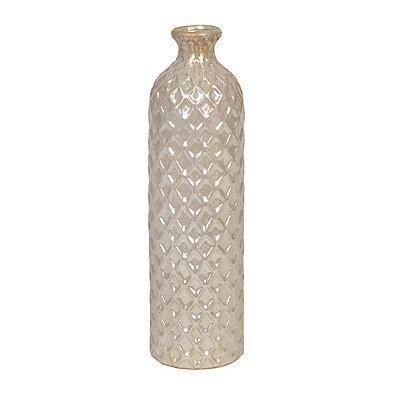 Silver Diamond Embossed Metallic Vase