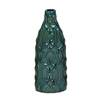 Green Embossed Geometric Ceramic Vase