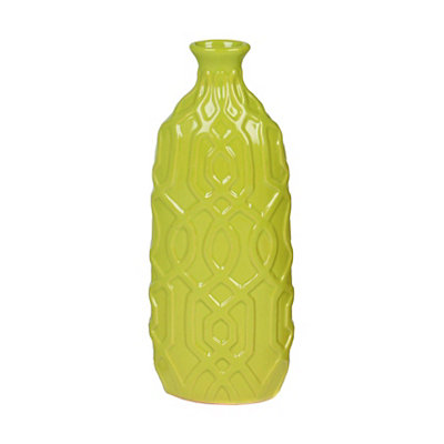 Lime Embossed Geometric Ceramic Vase