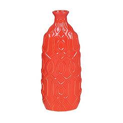 Orange Embossed Geometric Ceramic Vase