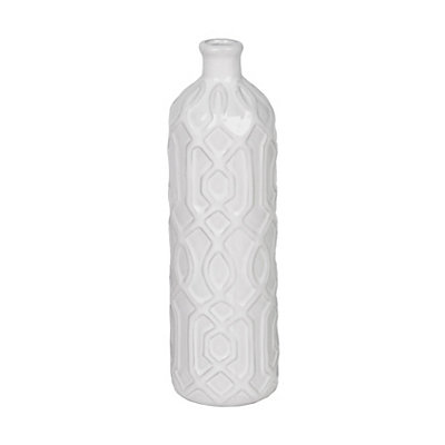 White Embossed Geometric Ceramic Vase