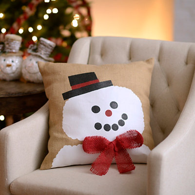 Snowman with Scarf Jute Pillow