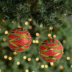 Glitter Red and Green Sequin Ornaments, Set of 2