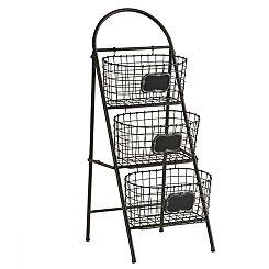 Black 3-Tier Chalkboard Storage Basket Tower