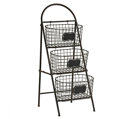 Black 3-Tier Chalkboard Storage Basket Tower
