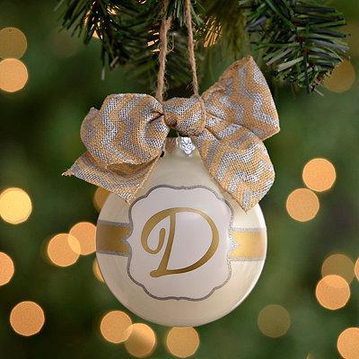 Pearl White Monogram D Ornament
