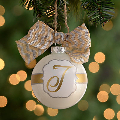 Pearl White Monogram J Ornament